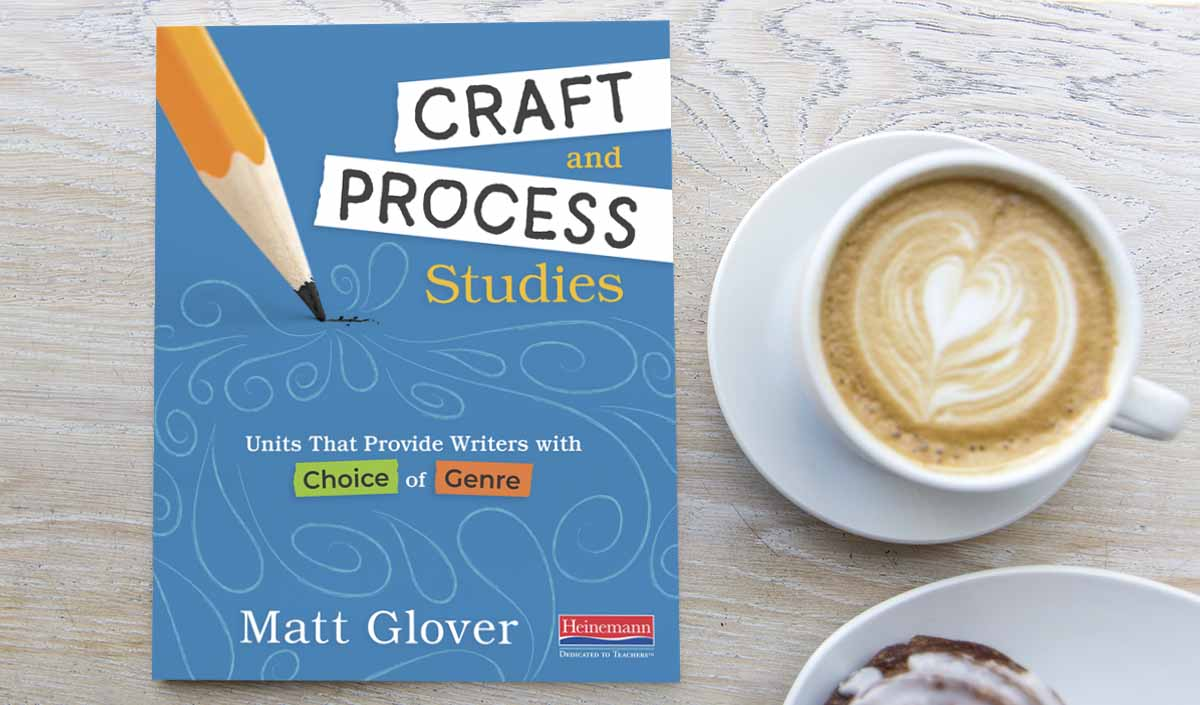 A top down photograph of the book 'Craft and Process Studies' by Matt Glover sitting to the left of a cup of coffee.