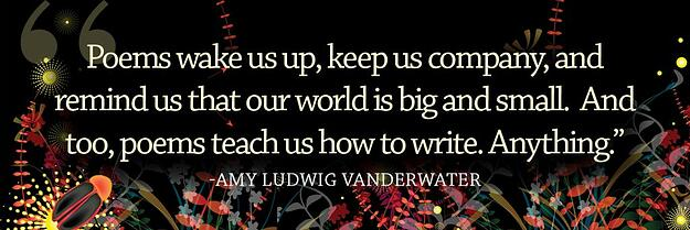 Poems wake us up, keep us company, and remind us that our world is big and small.  And too poems teach us how to writer.  Anything.
