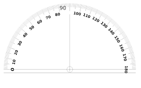 This protractor is not dual sided but the base aligns with the 0/180 degree line.