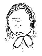 Cartoon drawing of playwright William Shakespeare. He has a sad expression.