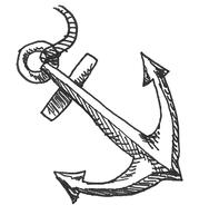 Sketch drawing of a nautical anchor.