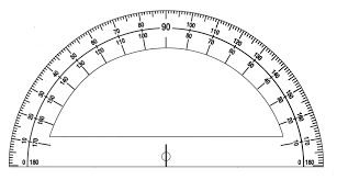 This protractor is dual sided and the base of the protactor aligns with the 0/180 degree line.